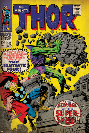 Marvel Comics Retro: The Mighty Thor Comic Book Cover No.142, Scourge of the Super Skrull! (aged) Stretched Canvas Print