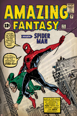 Marvel Comics Retro: Amazing Fantasy Comic Book Cover No.15, Introducing Spider Man (aged) Stretched Canvas Print