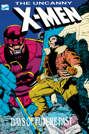 X-Men : Days Of Future Past Cove Cover: Wolverine and Sentinel Stretched Canvas Print