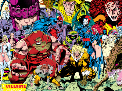 X-Men No.1 Pin-up Group: A Villains Gallery Stretched Canvas Print