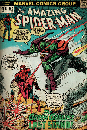 Marvel Comics Retro: The Amazing Spider-Man Comic Book Cover No.122, the Green Goblin (aged) Stretched Canvas Print