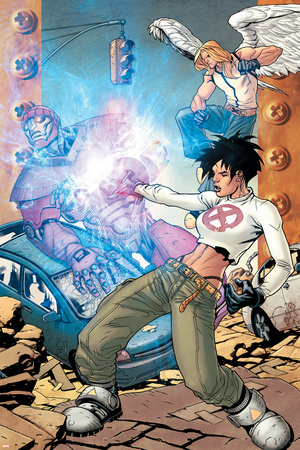 Ultimate X-Men No.86 Cover: Dazzler, Angel and Sentinel Stretched Canvas Print