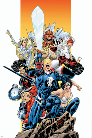 The Official Handbook Of The Marvel Universe Teams 2005 Group: Captain Britain Stretched Canvas Print