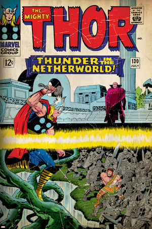 Marvel Comics Retro: The Mighty Thor Comic Book Cover No.130, Thunder in the Netherworld (aged) Stretched Canvas Print