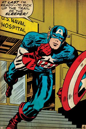 Marvel Comics Retro: Captain America Comic Panel, U.S. naval Hospital (aged) Stretched Canvas Print