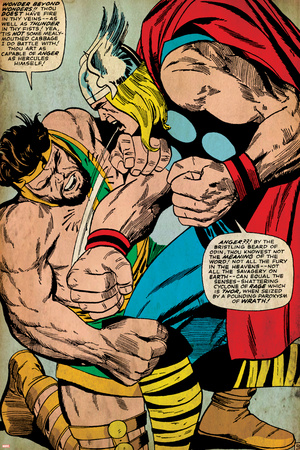 Marvel Comics Retro: Mighty Thor Comic Panel, Hercules (aged) Stretched Canvas Print