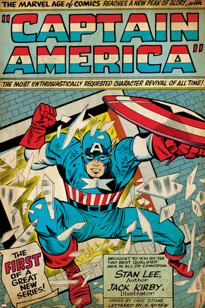 Marvel Comics Retro: Captain America Comic Panel; Smashing through Window (aged) Stretched Canvas Print