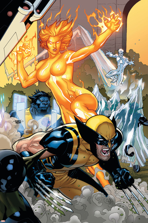 Secret Invasion: X-Men No.4 Cover: Wolverine and Phoenix Stretched Canvas Print