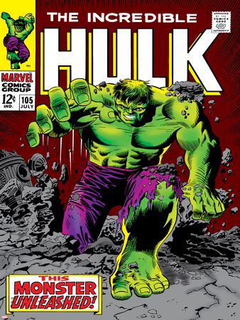 Marvel Comics Retro: The Incredible Hulk Comic Book Cover No.105 Stretched Canvas Print