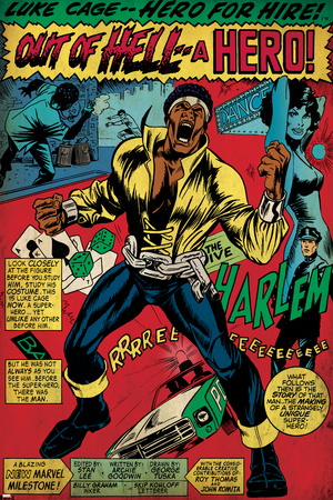 Marvel Comics Retro: Luke Cage, Hero for Hire Comic Panel, Screaming (aged) Stretched Canvas Print