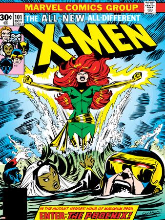 Marvel Comics Retro: The X-Men Comic Book Cover No.101, Phoenix, Storm, Nightcrawler, Cyclops Stretched Canvas Print