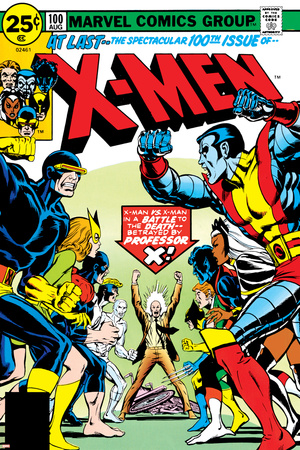 Marvel Comics Retro: The X-Men Comic Book Cover No.100, Professor X Stretched Canvas Print
