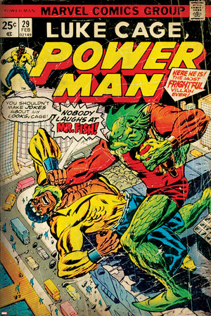 Marvel Comics Retro: Luke Cage, Power Man Comic Book Cover No.29, Fighting Mr. Fish (aged) Stretched Canvas Print