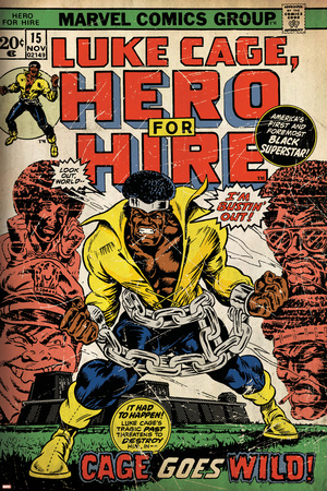 Marvel Comics Retro: Luke Cage, Hero for Hire Comic Book Cover No.15, in Chains (aged) Stretched Canvas Print