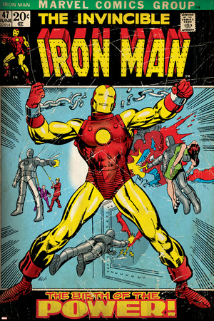 Marvel Comics Retro: The Invincible Iron Man Comic Book Cover No.47, Breaking Through Chains (aged) Stretched Canvas Print