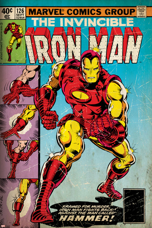 Marvel Comics Retro: The Invincible Iron Man Comic Book Cover No.126, Suiting Up for Battle (aged) Stretched Canvas Print
