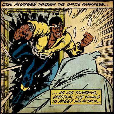 Marvel Comics Retro: Luke Cage, Hero for Hire Comic Panel (aged) Stretched Canvas Print