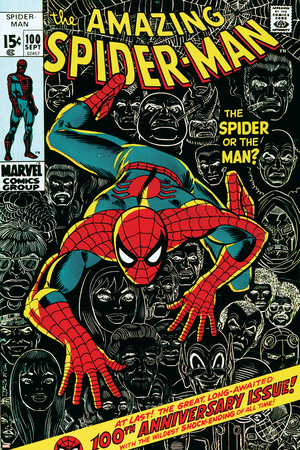 Marvel Comics Retro: The Amazing Spider-Man Comic Book Cover No.100, 100th Anniversary Issue Stretched Canvas Print