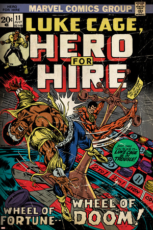 Marvel Comics Retro: Luke Cage, Hero for Hire Comic Book Cover No.11 (aged) Stretched Canvas Print