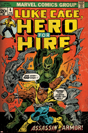 Marvel Comics Retro: Luke Cage, Hero for Hire Comic Book Cover No.6, Assassin in Armor! (aged) Stretched Canvas Print