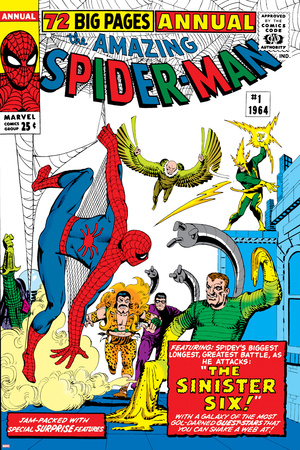Amazing Spider-Man Annual No.1 Cover: Spider-Man, Sandman, Mysterio, Dr. Otto Octavius, and Electro Stretched Canvas Print