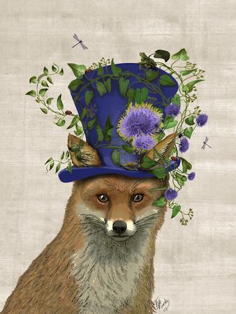 Fox Mad Hatter Fab Funky Art Print