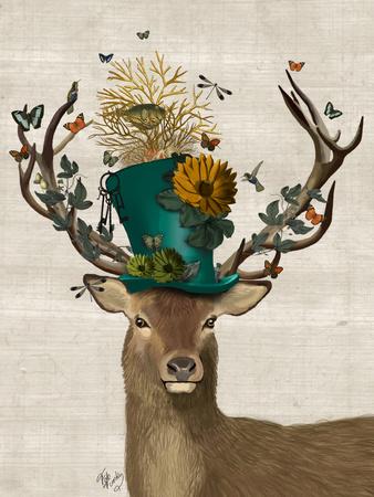 Mad Hatter Deer Fab Funky Art Print