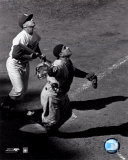 Yogi Berra - catching action / sepia &#169;Photofile