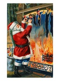 Postcard of Santa Filling Christmas Stockings