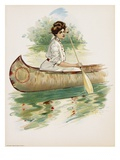 Poster Depicting a Woman Canoeing by Thomas Mitchell Peirce