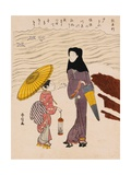 Chuban Tate-e a Beauty in a Black Hood and a Young Girl Holding an Umbrella