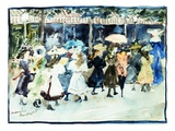 Watercolor of Girls Walking Along the Boardwalk by Maurice Brazil Prendergast
