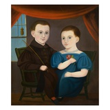 American Naive Portrait of a Boy and a Girl