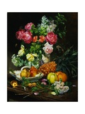 Painting of Roses in a Vase  Pears in a Porcelain Bowl and Fruit on an Oak Table