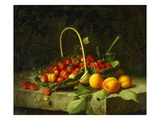 A Basket of Strawberries with Peaches on a Stone Ledge