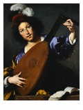 Italian Baroque Painting of Lute Player