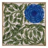 Blue Flower Watercolor Tile Design by William de Morgan
