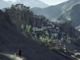 A Woman Leads Her Sheep Past Lamayuru Gompa and its Hilltop Village