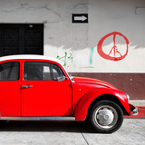 ¡Viva Mexico! Square Collection - Red VW Beetle Car & Peace Symbol