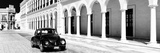¡Viva Mexico! Panoramic Collection - Black VW Beetle and Mexican Architecture B&W II