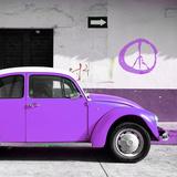 ¡Viva Mexico! Square Collection - Purple VW Beetle Car & Peace Symbol