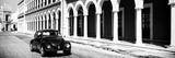 ¡Viva Mexico! Panoramic Collection - Black VW Beetle and Mexican Architecture B&W