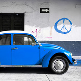 ¡Viva Mexico! Square Collection - Blue VW Beetle Car & Peace Symbol