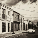¡Viva Mexico! Square Collection - Colorful Facades and White VW Beetle Car II