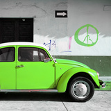 ¡Viva Mexico! Square Collection - Lime Green VW Beetle Car & Peace Symbol