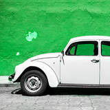 ¡Viva Mexico! Square Collection - White VW Beetle Car & Green Wall