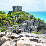 ¡Viva Mexico! Square Collection - Tulum Ruins along Caribbean Coastline with Iguana III