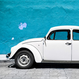 ¡Viva Mexico! Square Collection - White VW Beetle Car & Blue Wall