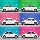 ¡Viva Mexico! Square Collection - White VW Beetle Cars & Color Walls II