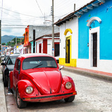 ¡Viva Mexico! Square Collection - Red VW Beetle Car in San Cristobal